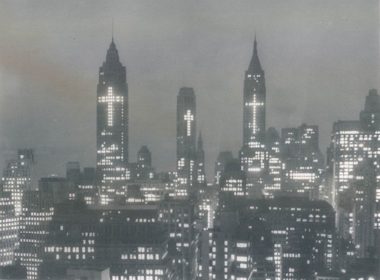 The NYC skyline during Easter of 1956.