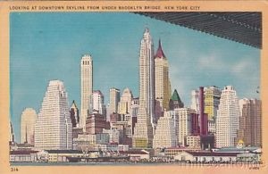 New York City skyline 1950s postcard